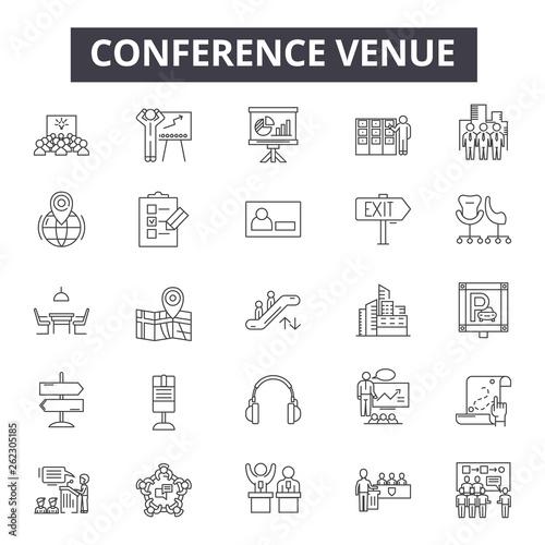 Fotografiet Conference venue line icons, signs set, vector