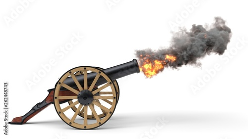 Obraz na plátně ramadan cannon shoting soccer ball.. 3d illustration