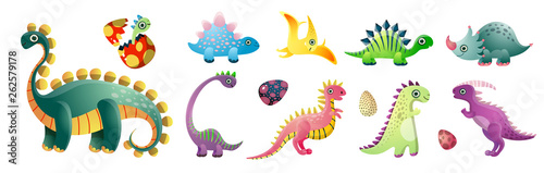 Photo Set of cute colorful dinosaurs and colorful kid egg