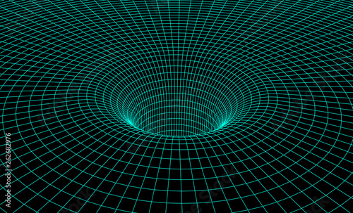 Fotografie, Tablou Black hole scheme with gravity grid as scientific abstract background
