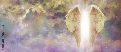 Fotografija Guardian Angel Light Being Watching Over You - pair of golden Angel Wings with a