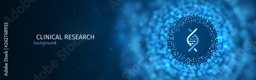 Photo Scientific or medical research vector blue background template