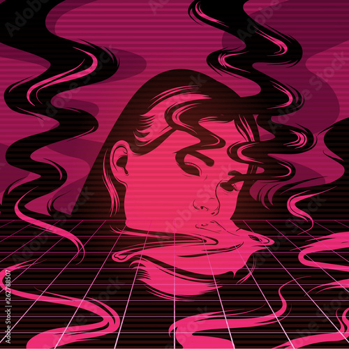 Vector hand drawn illustration of melting girl with smoke. Poster Mural XXL