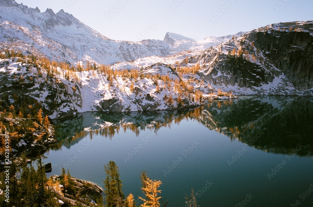 Mountain lake with reflection of snow and larch trees