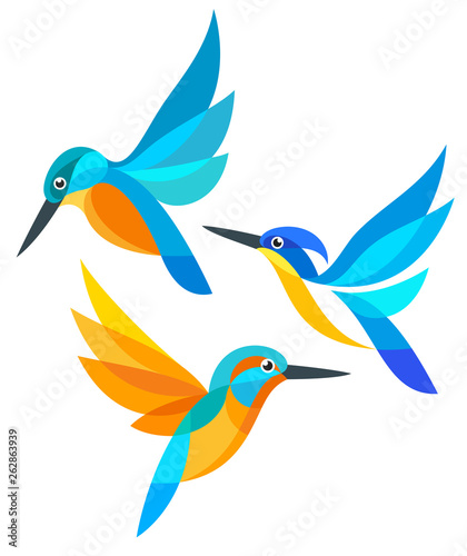 Photo Stylized Birds in flight - Kingfishers