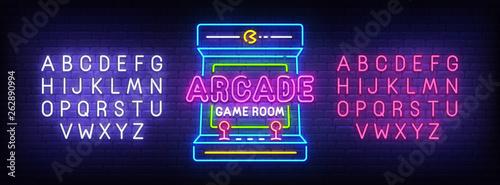 Cuadros en Lienzo Arcade Games neon sign, bright signboard, light banner