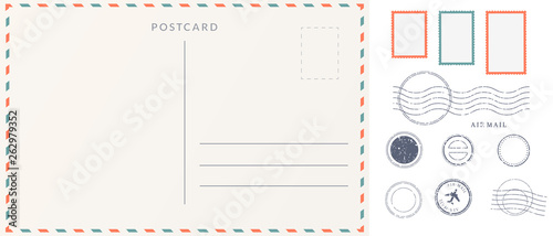 Valokuva Elements for empty postcard back