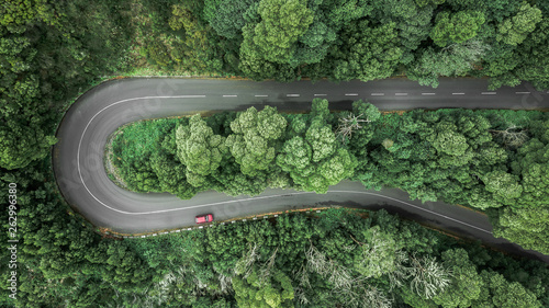 Foto Aerial view of curve road with a car trough the dense woods on the high mountain in Encumeada, Ribeira Brava, Madeira island