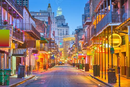 Obraz na plátně Bourbon Street, New Orleans, Louisiana, USA