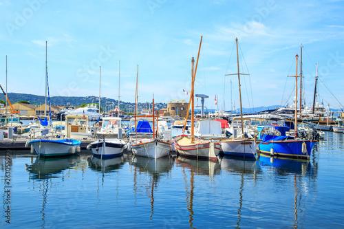 Boats in a port of Saint Tropez, France Fototapeta