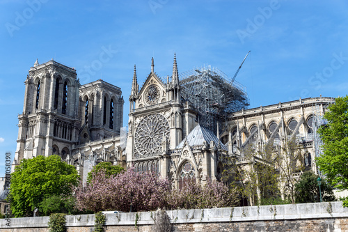 Fototapeta Paris, France: Notre Dame de Paris on April 17, 2019 after the fire