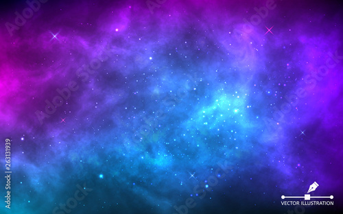 Fotografia Space background with stardust and shining stars