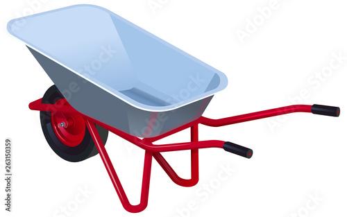 Valokuva New empty modern garden wheelbarrow. Garden car isolated on white