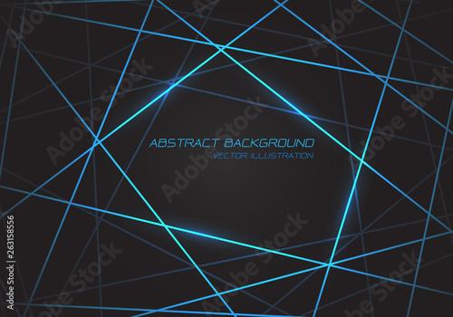 Fényképezés Abstract blue line light laser cross overlap on dark grey design modern technology futuristic background vector illustration