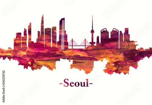 Canvas Print Seoul South Korea skyline in red