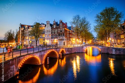 Canvas Print amsterdam at night