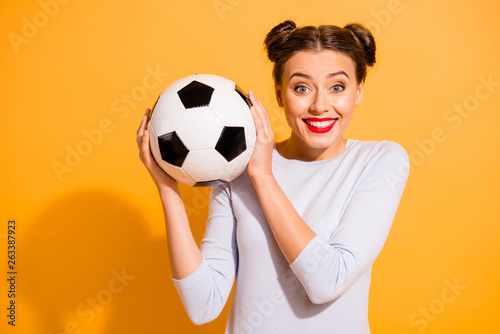 Stampa su Tela Close up photo pretty amazing hairdo she her lady hold hands arms leather ball a