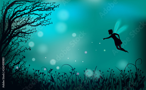 Photo deep fairy forest silhouette at night with fairy girl and fireflies,