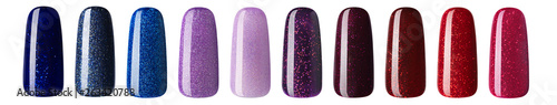 Photo Nail polish with glitter in fashion different pastel color
