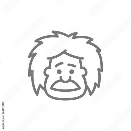 Canvas Print Einstein, professor, teacher or scientist line icon.