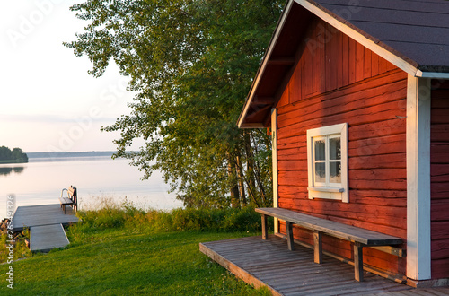 Lake landscape in Finland Fototapeta