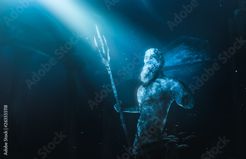 Obraz na płótnie lost civilization of atlantis sunken deep in the ocean / 3D rendering