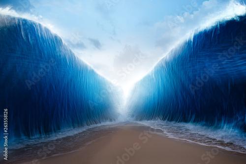 Fotografie, Obraz parting the red sea concept, photo composite
