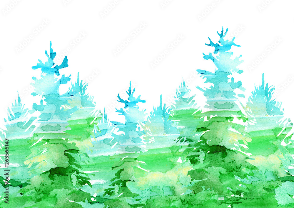 Seamless border of a spruce.Coniferous forest.Silhouette of fir trees.Watercolor hand drawn illustration.White background.