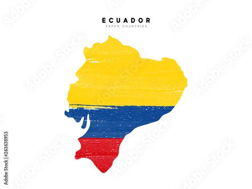 Fotografia, Obraz Ecuador detailed map with flag of country