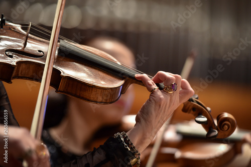Violin players hand detail during philharmonic orchestra performance