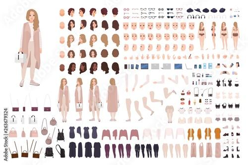 Fotomural Stylish modern girl animation kit or DIY set