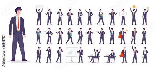Fotografie, Obraz Businessman character set. Character in suit doing