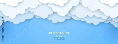 Cloudy paperart illustration