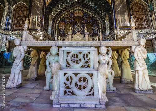 Takht e Marmar - famous Marble Throne in one of the buildings of Golestan Palace in Tehran
