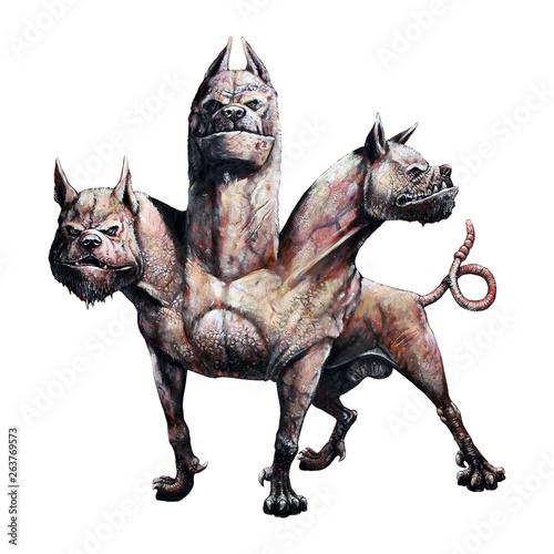 Obraz na plátně Multi headed dog Cerberus illustration