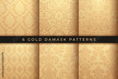 Murais de parede Set of Vector Damask Patterns