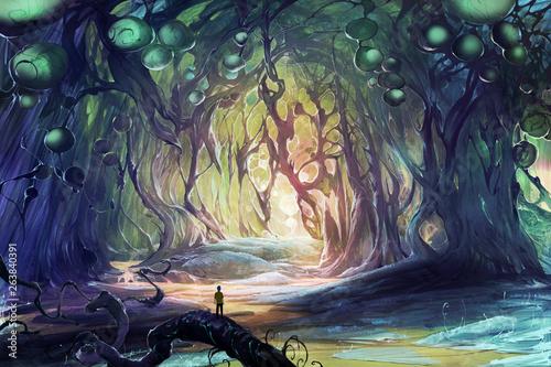 Fototapeta premium Cyfrowa ilustracja fantasy przedstawiająca osobę zagubioną w magicznych jaskiniach, w których rosną dziwne, dziwne drzewa