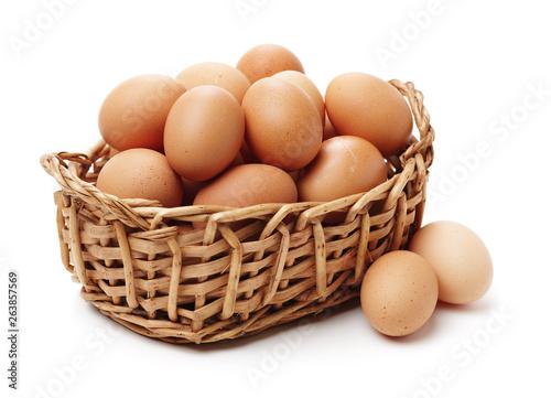 Fotografiet eggs on white background