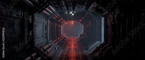 Foto mural 3d rendering of realistic sci-fi dark corridor with red light. Futuristic tunnel with grunge metal walls. Cyberpunk tunnel. Interior view. Modern futuristic hall. Empty corridor in a spaceship. Fog.