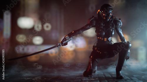 Photo Science fiction cyborg female kneeling on one knee holding a katana in one hand