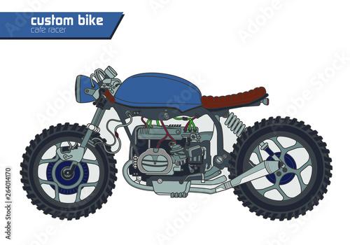 Obraz na plátne custom cafe racer motorcycle on white background