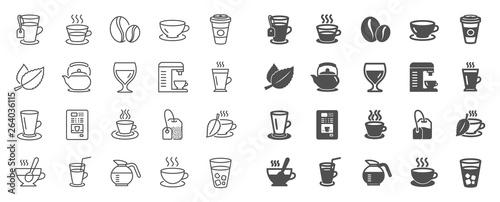 Leinwand Poster Coffee and Tea line icons