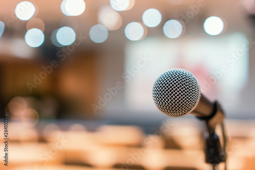 Fotografie, Tablou Microphone in meeting room for a conference