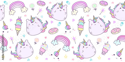 Seamless pattern with hand drawn unicorn in pastel color. Kawaii unicorn background for kid.