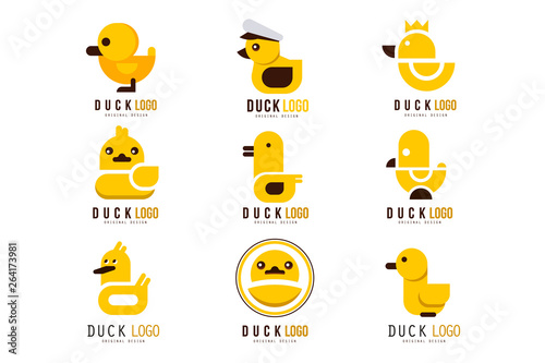 Obraz na plátně Duck logo set, design elements with yellow toy rubber duck for your own design v
