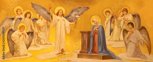Fotografia ACIREALE, ITALY - APRIL 11, 2018: The fresco of Annunciation in Duomo - cattedrale di Maria Santissima Annunziata by  Giuseppe Sciuti (1907)