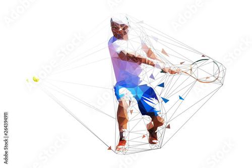 Plakat Geometryczna konwencja ilustracji mężczyzny grającego w tenisa