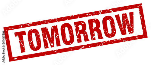Slika na platnu square grunge red tomorrow stamp