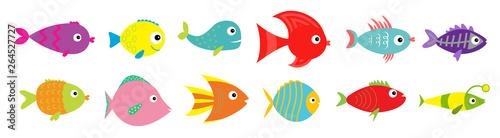 Photo Cute cartoon fish icon set line