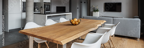 Home interior with dining table Fototapeta